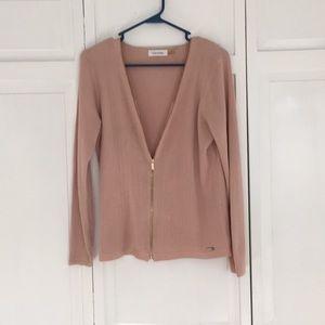 Calvin Klein zip up cardigan, M, pink blush